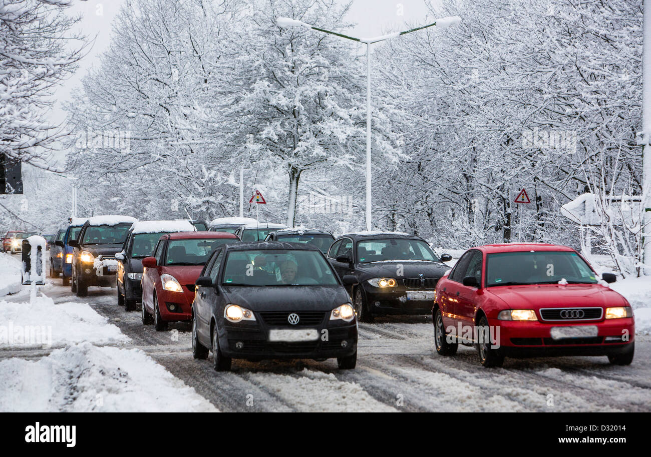 Traffic jam on city street, after heavy snow fall. Hundreds of Kilometer of traffic jam during rush hour in the - Stock Image