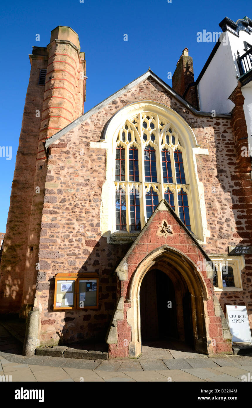 St.Martins church in cathedral square, Exeter, Devon, UK - Stock Image