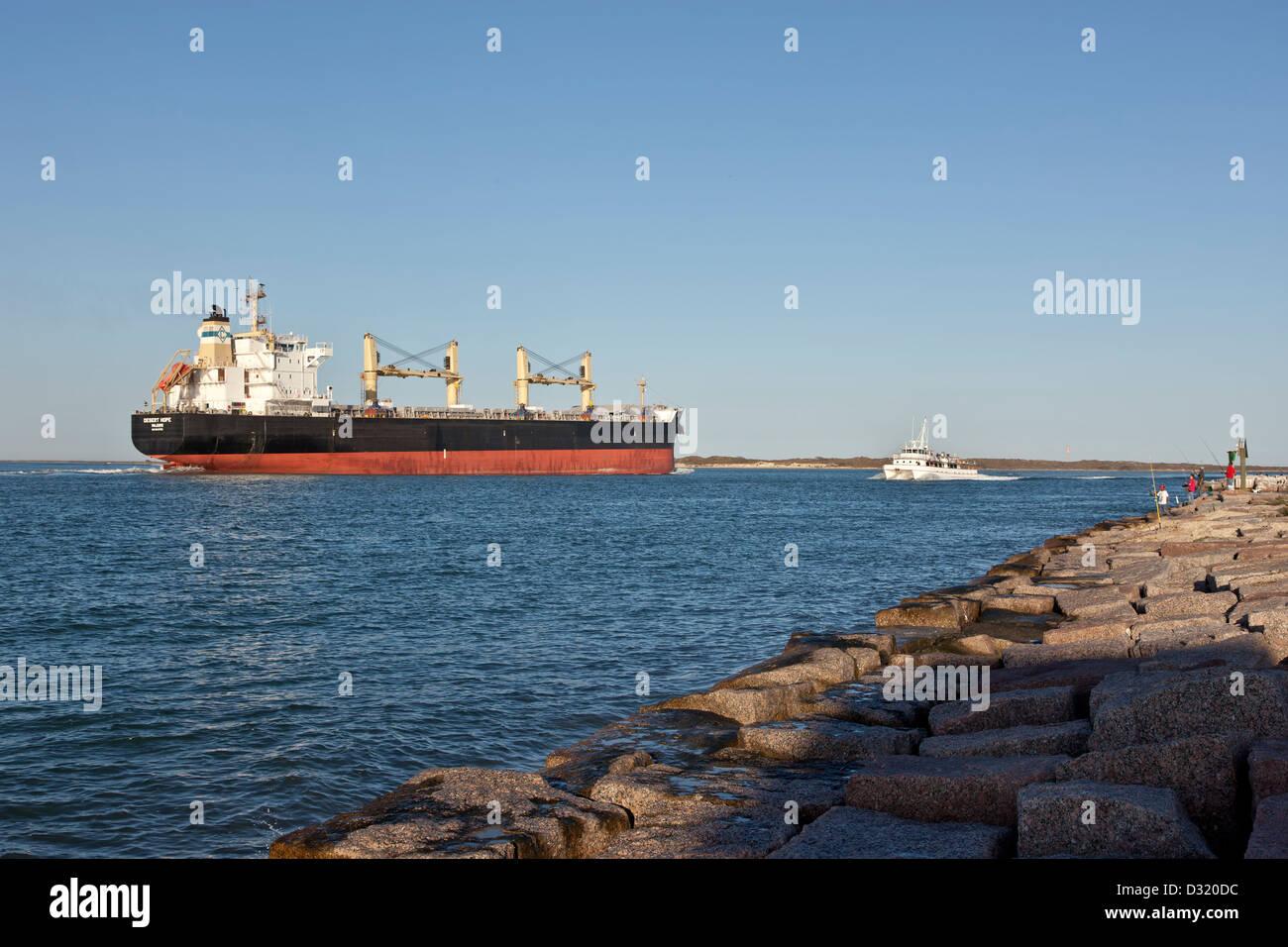 Freighter transporting grain, Corpus Christi ship channel. Stock Photo
