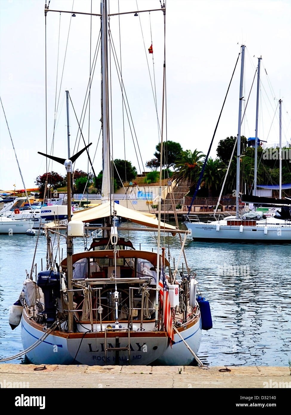 Porto Cristo Harbour is a natural Harbour which still homes the small fishing boats on the east coast of Mallorca - Stock Image