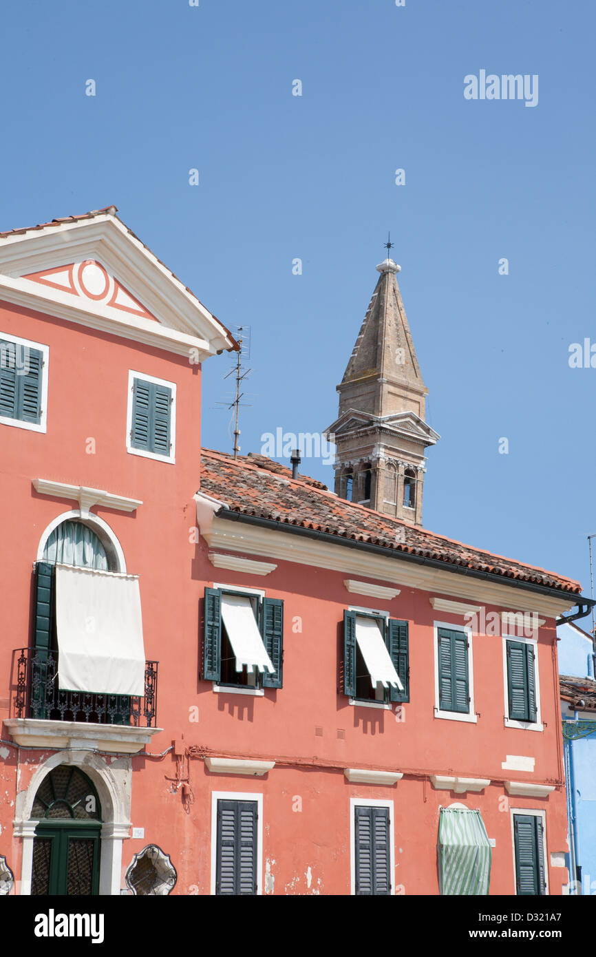 Color photograph on the island of Burano, Venice, Italy - Stock Image