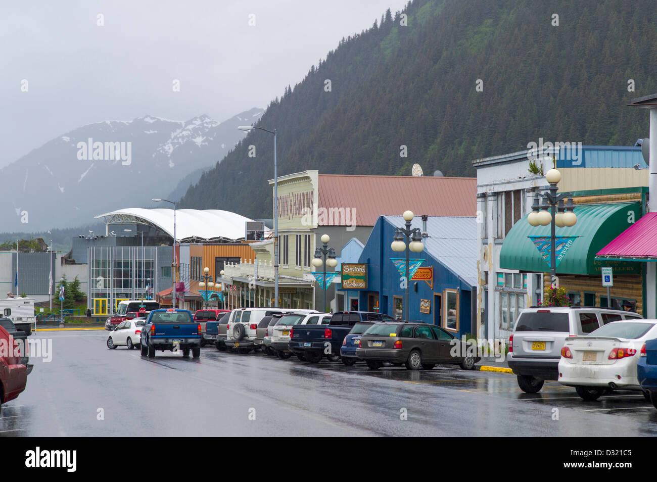 Rainy day in downtown, Seward, Alaska, USA - Stock Image