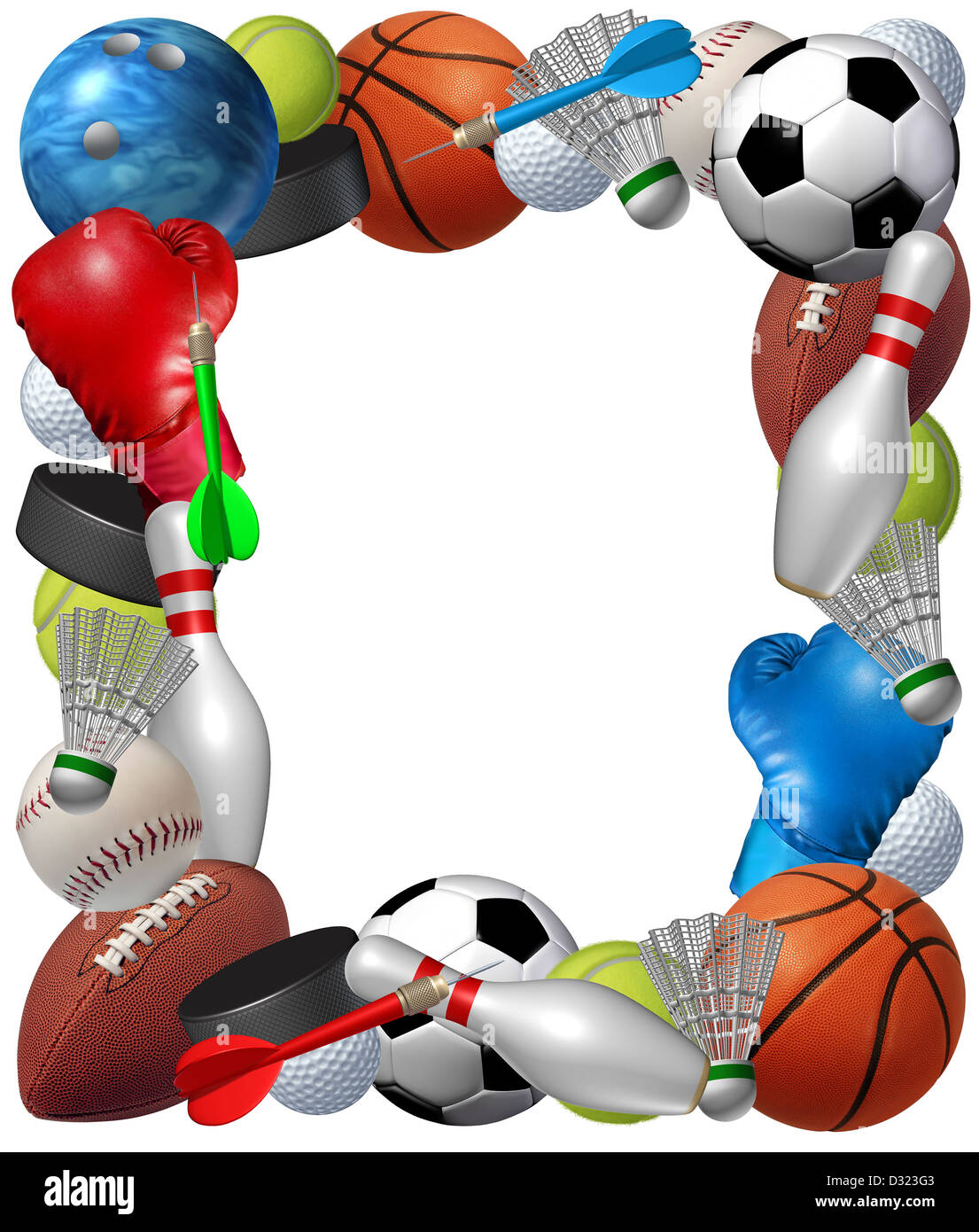 c0dca986351c Sports frame with sport equipment from baketball boxing golf bowling tennis  badminton football soccer darts ice hockey and baseball as a fitness and  health ...
