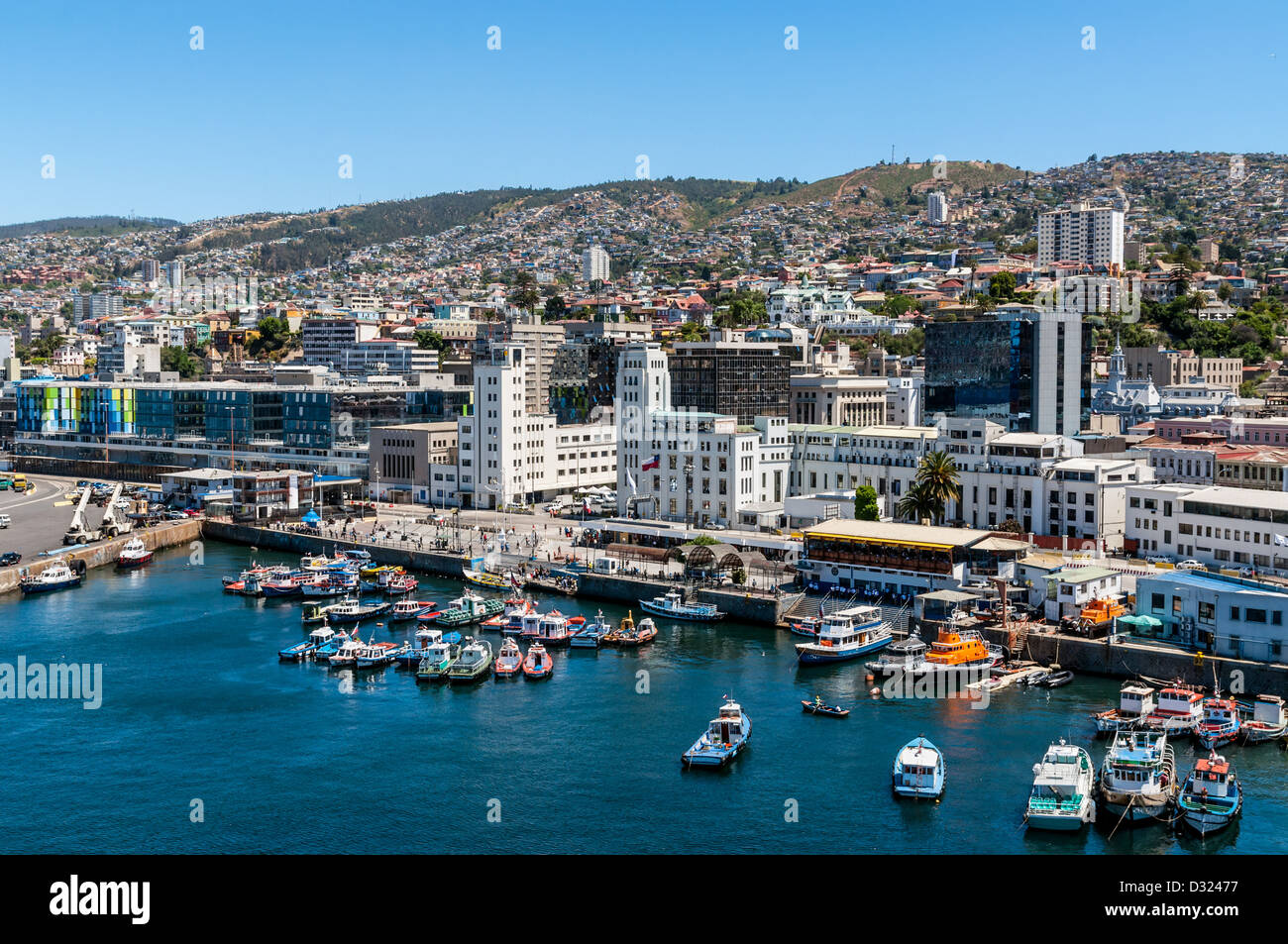 City scape of Valparaiso as seen from the harbor. - Stock Image