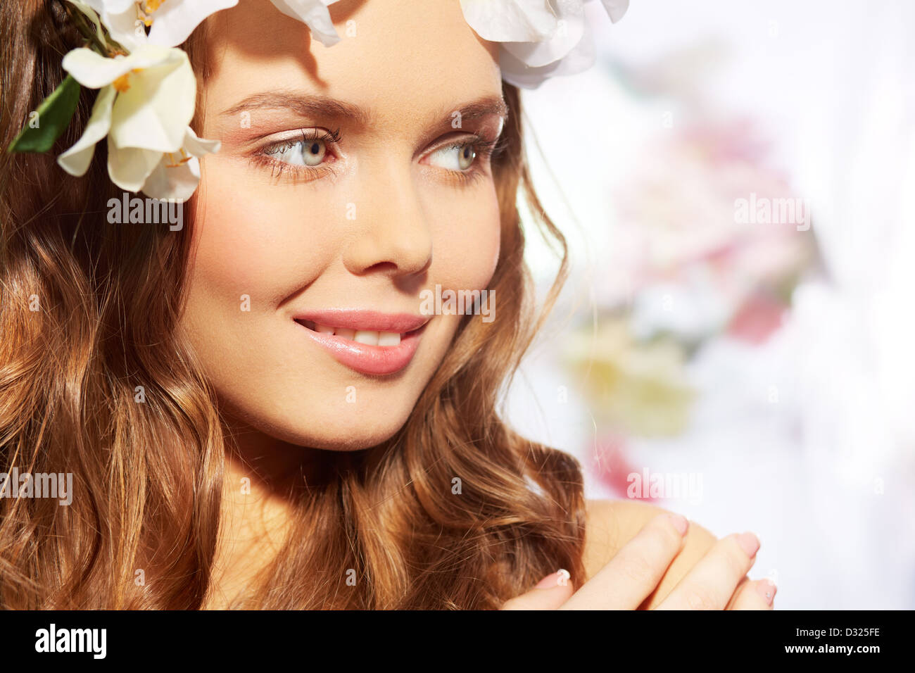 Close-up image of a girl with fair complexion and natural make-up - Stock Image