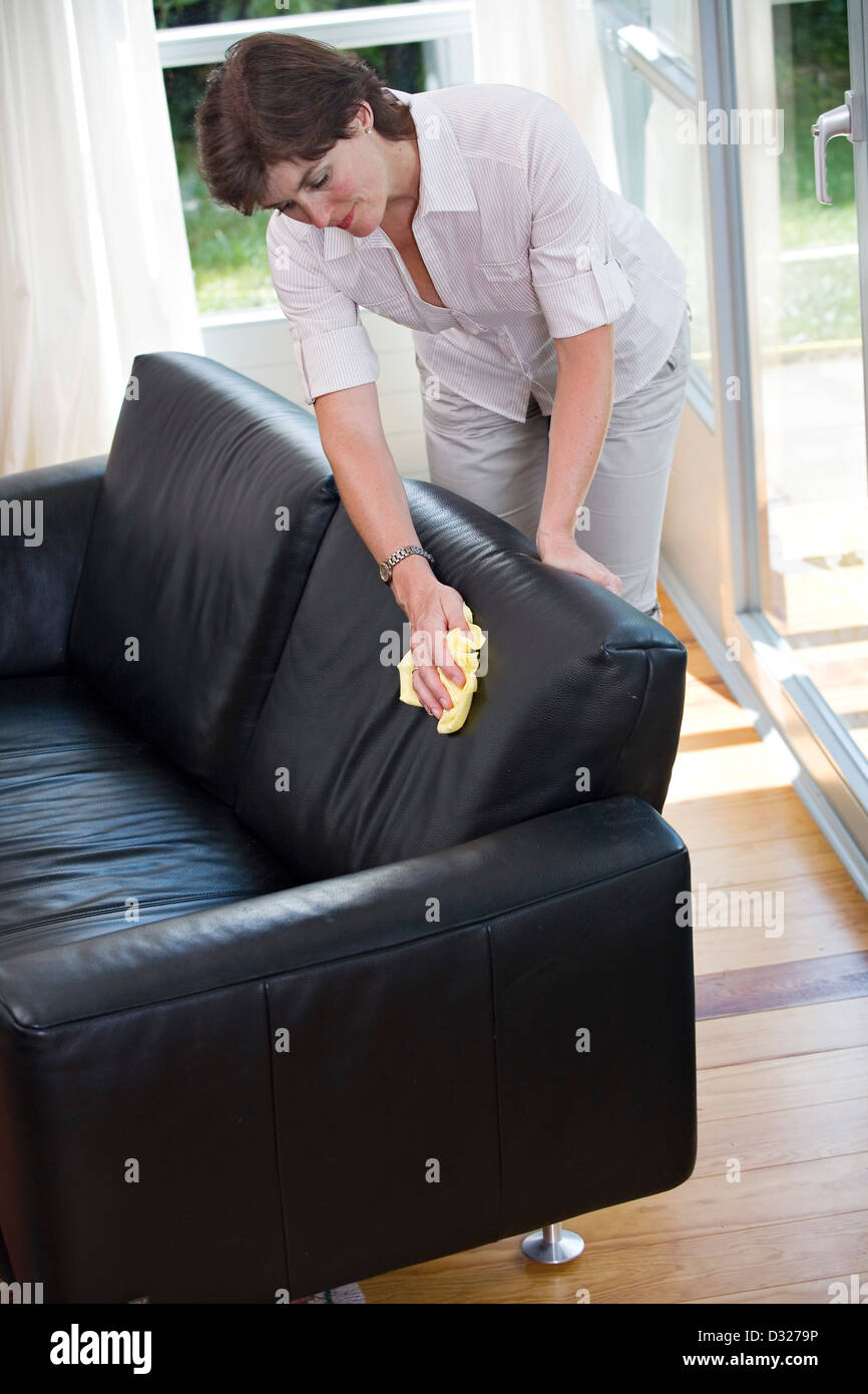 Woman Cleaning Leather Sofa