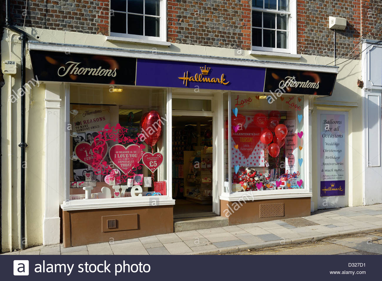 Hallmark and Thorntons cards and gifts shop, Blandford Forum, Dorset England