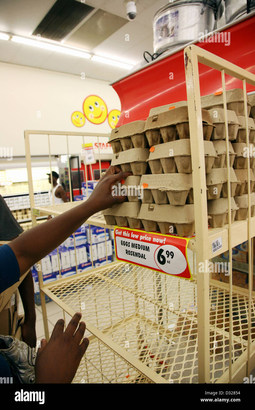 Small bussiness owner sells eggs in Khayelitsha's Ilitha Park. - Stock Image