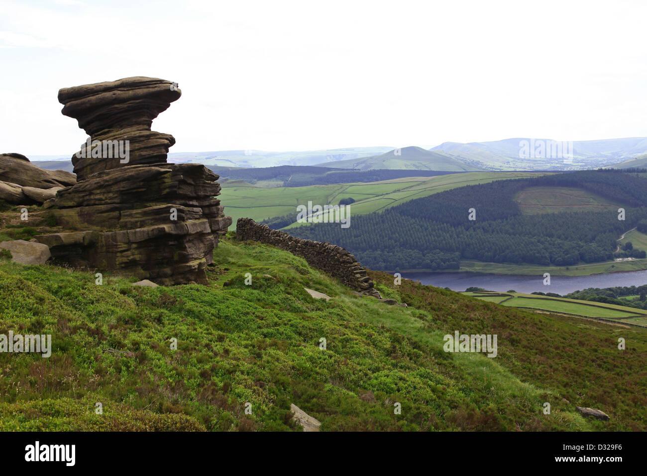 The Salt Cellar Weathered Sandstone rock shapes Derwent Edge Ladybower reservoir Peak District National Park Derbyshire - Stock Image
