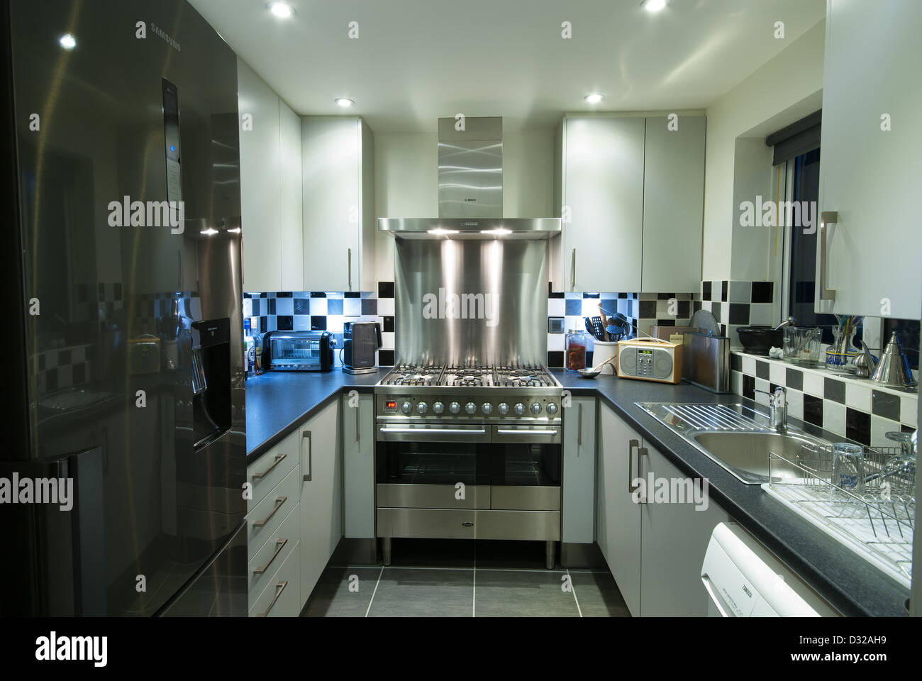 Kitchen Designs With Range Cookers. A Small Modern Domestic Kitchen With A  Stainless Steel Range