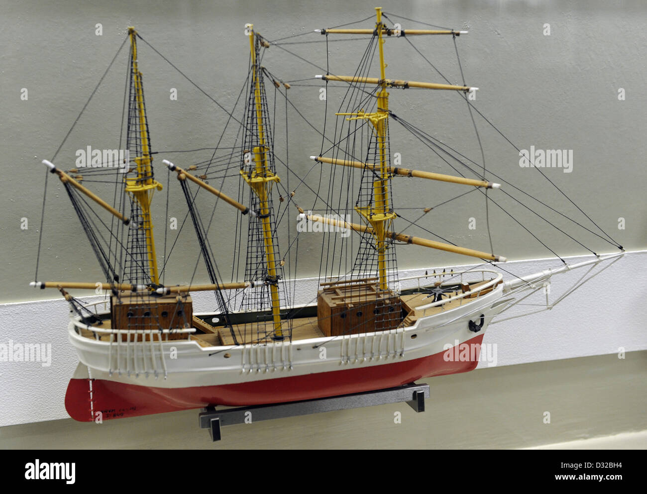 History of navigation. Brigantine. Model by I. Milusev. Museum of History and Navigation. Riga. Latvia. - Stock Image