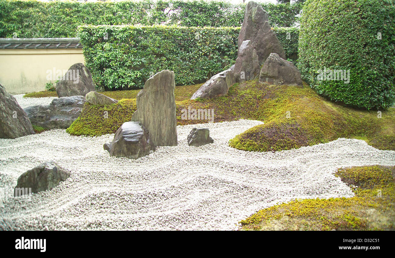 Garden of the Blissful Mountain at Zuiho-in, a subsidiary temple of Daitoku-ji, Kyoto, Japan - Stock Image