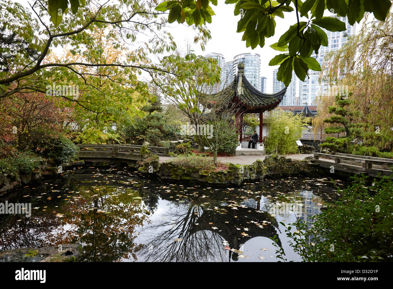 dr sun yat sen chinese park chinatown Vancouver BC Canada - Stock Image