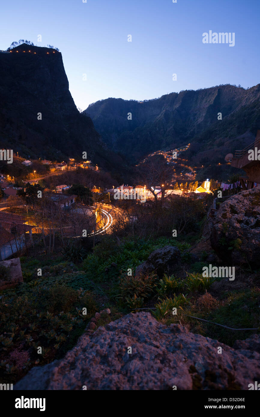 A dawn view of the village of Curral das Freiras. - Stock Image