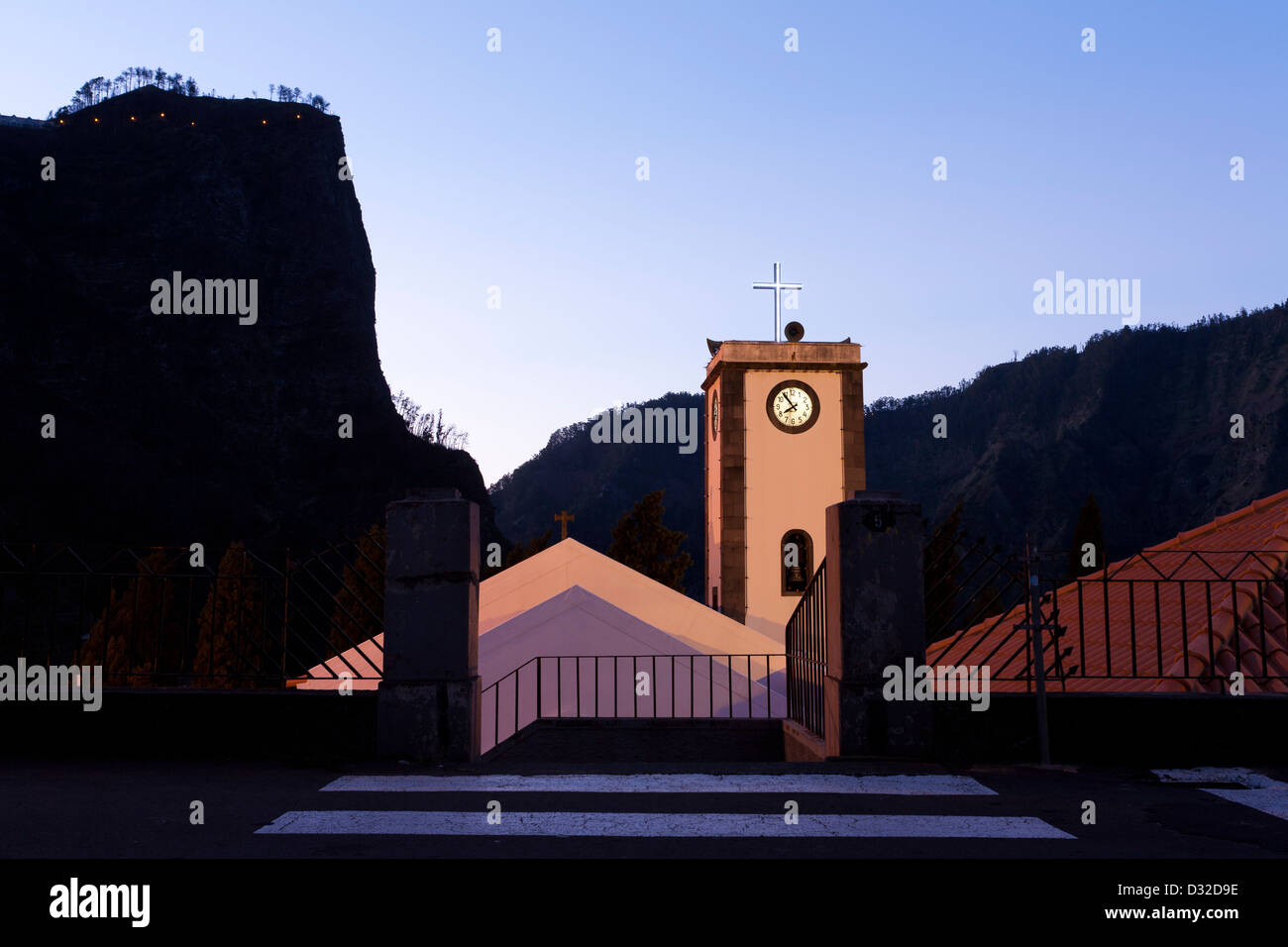 The access from the street to the church in Curral das Freiras. - Stock Image