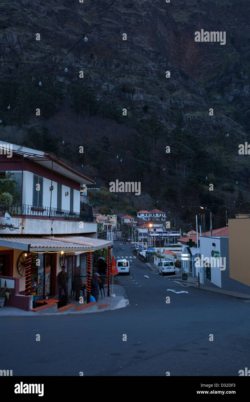 A Snack Bar on the main street of Curral das Freiras.Stock Photo