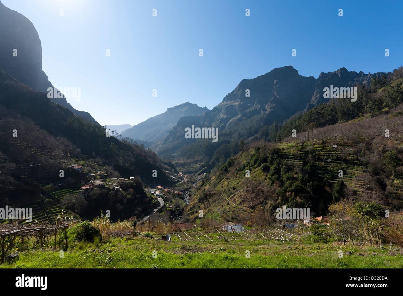 A view down the valley towards Curral das Freiras from Fajã dos Cardos. - Stock Image