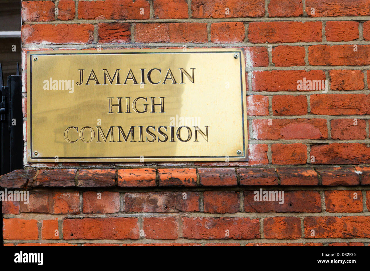 A brass plate on the Jamaican High Commission in Prince Consort Road, South Kensington, London - Stock Image