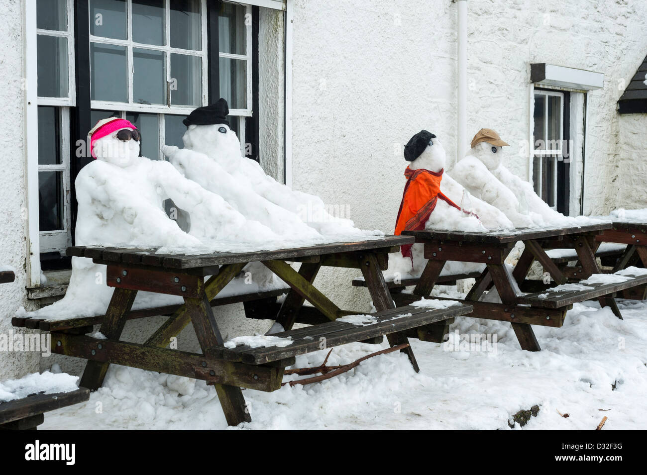 Snowy winter weather on Dartmoor by the Warren House Inn. - Stock Image