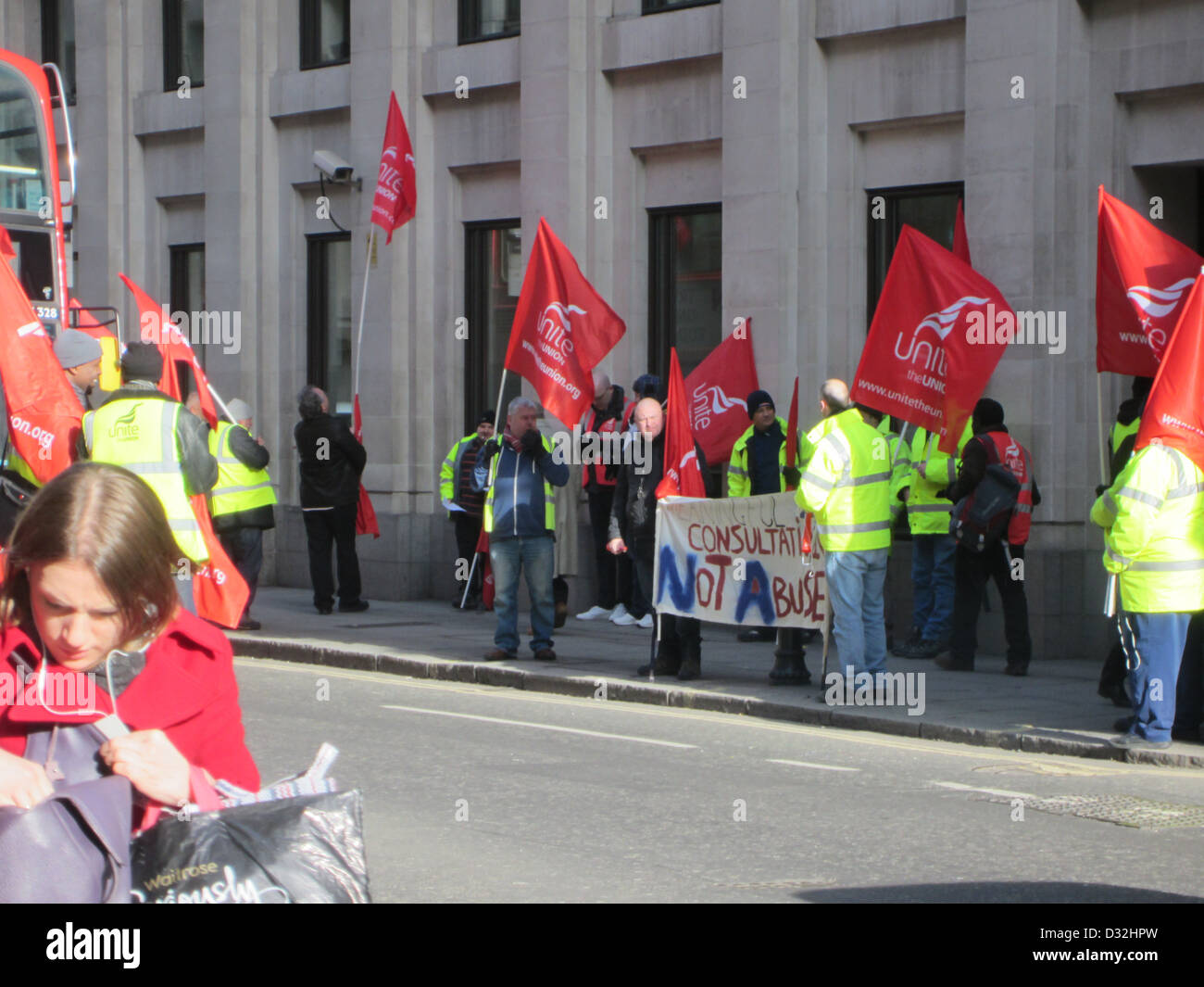 Unite workers protest at job losses at Howden Joinery Group - Stock Image