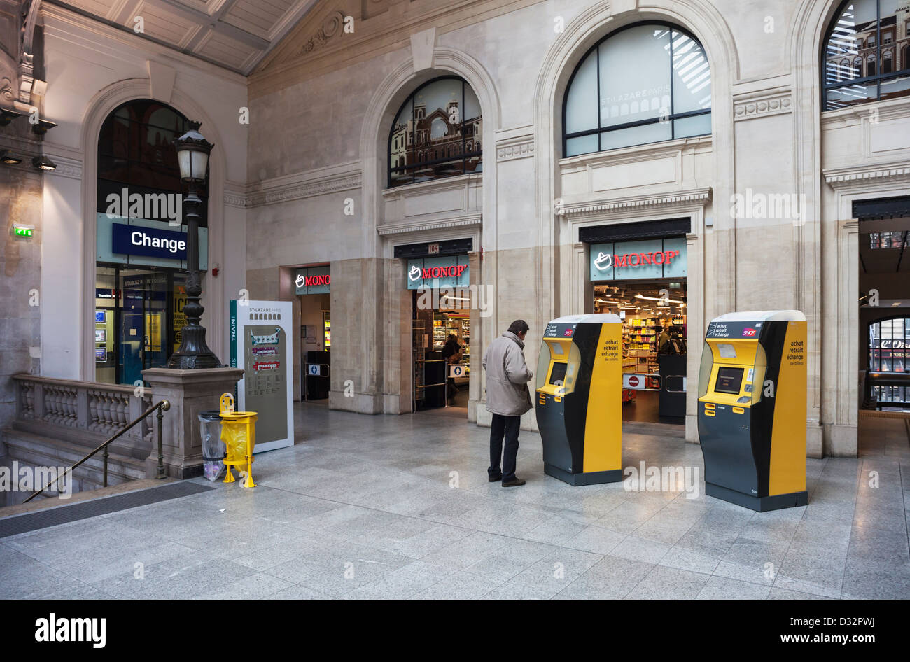 Gare st lazare railway station in paris with ticket machines
