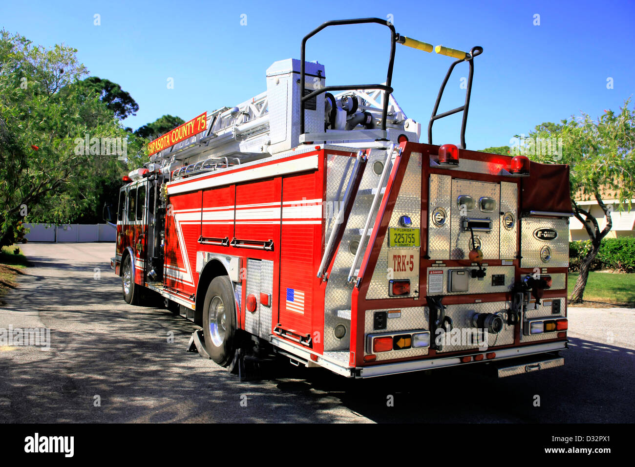 Sarasota County Fire Department truck at a call out in the city suberbs