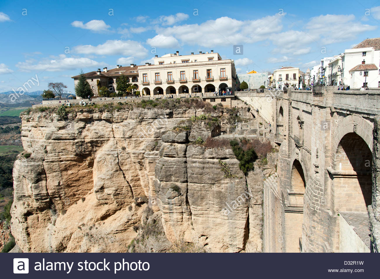View over the Tajo gorge from the Puente Nuevo, Ronda, Spain - Stock Image