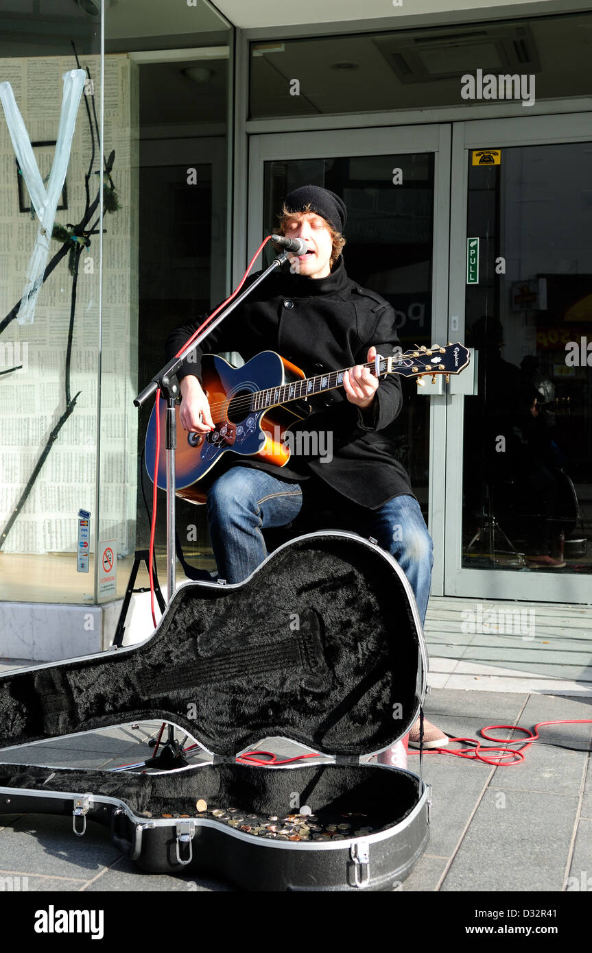 Matthew Fearon,Street Musician ,Busker. - Stock Image