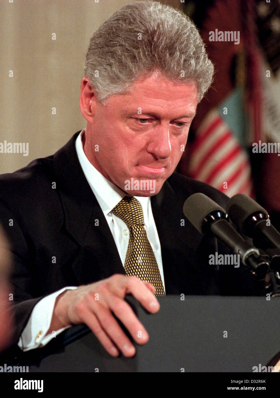 US President Bill Clinton during a press conference at the White House July 1, 1999 in Washington, DC. - Stock Image