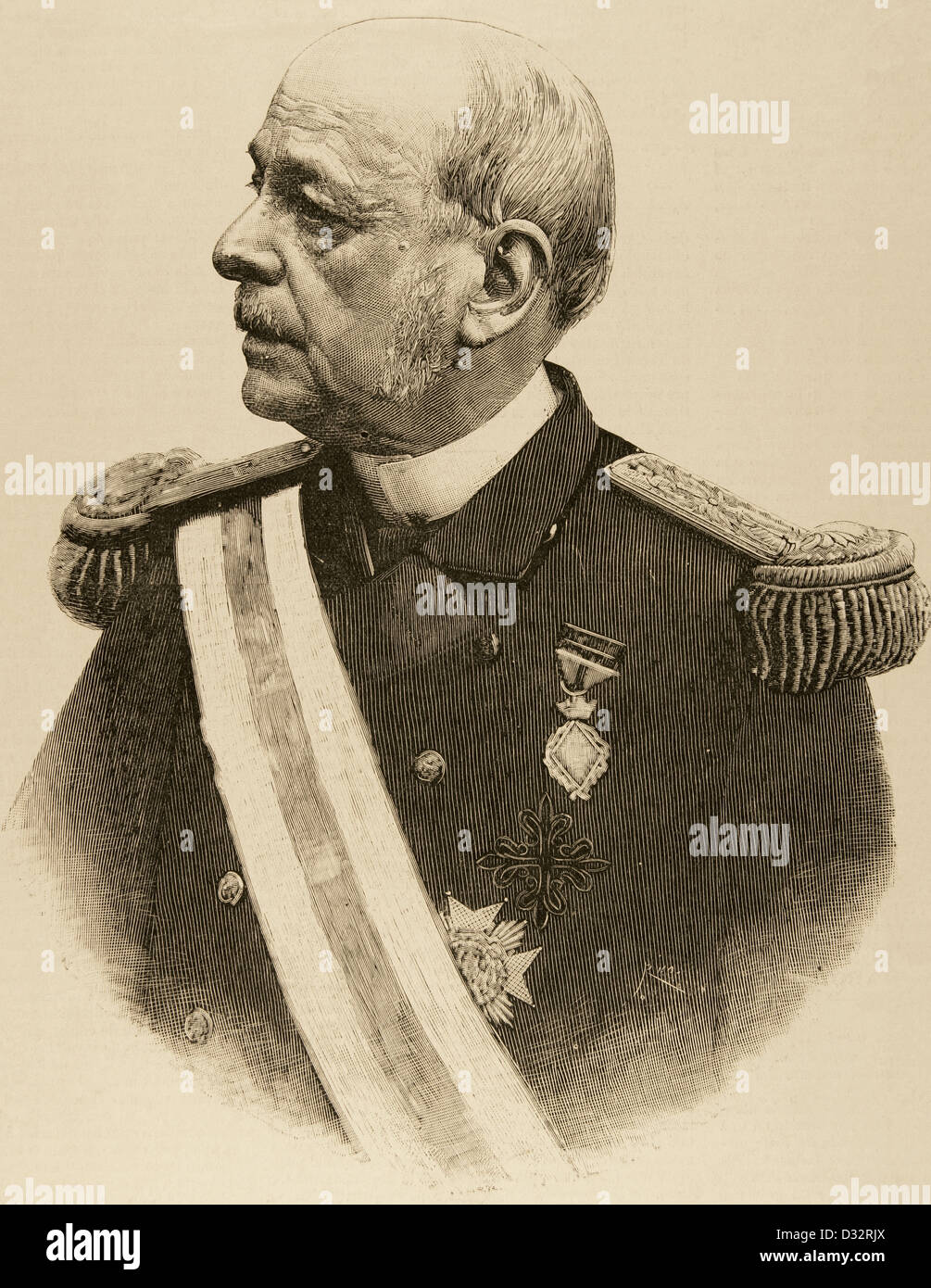 Jose Maria Beranger Ruiz de Apodaca (1824-1907). Spanish marine and politician. Engraving. - Stock Image