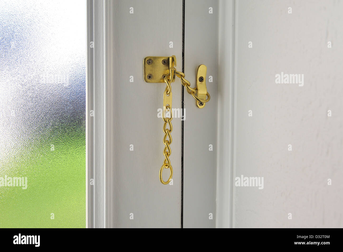 Door Safety Chain Fitted For Extra Security   Stock Image