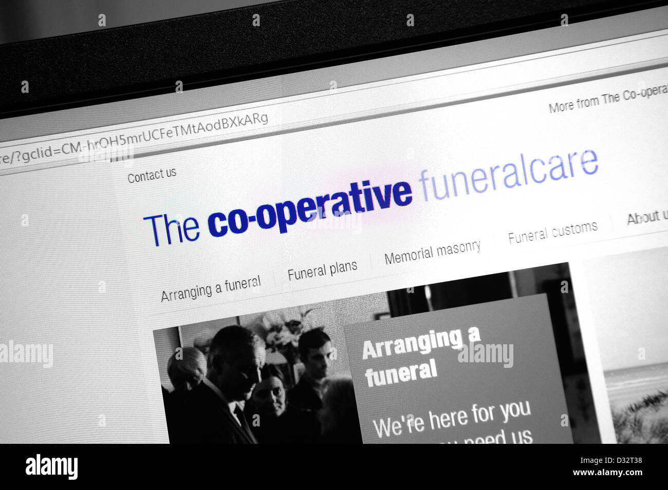 The cooperative funeral care web page - Stock Image