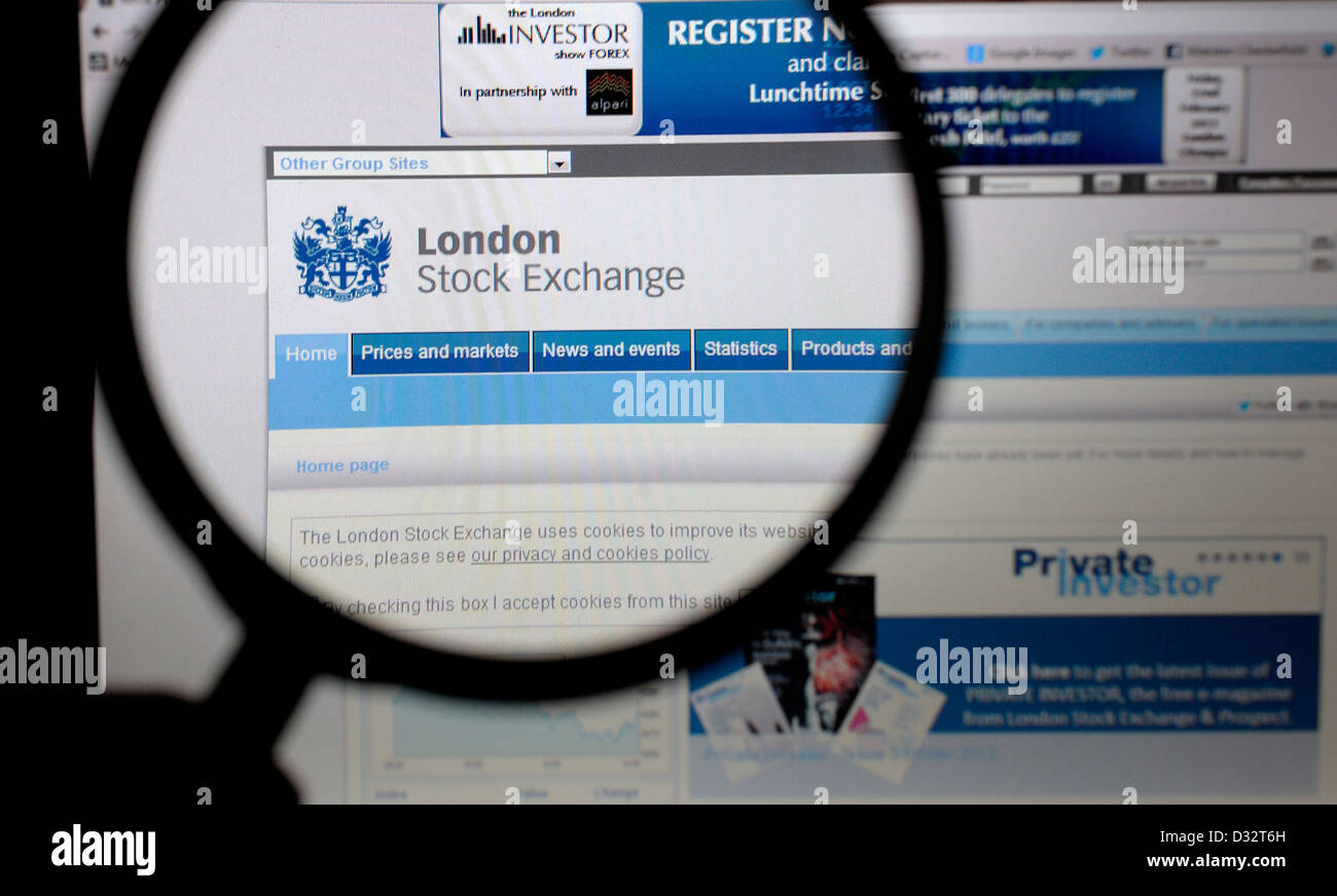 london stock exchange web page site - Stock Image
