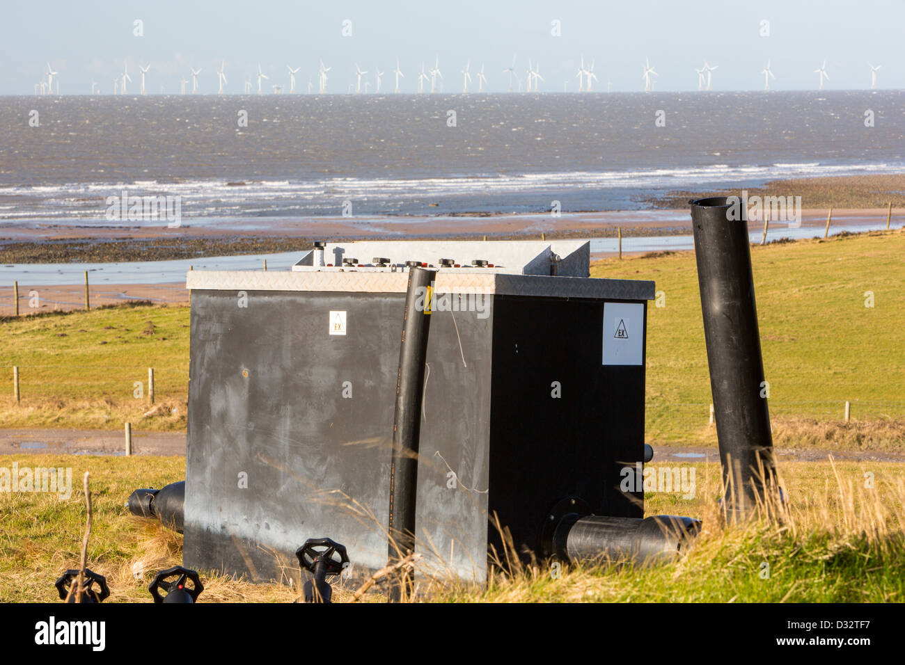 Methane, extracted from an old landfill site on Walney Island, to power a biogas generator producing green electricity Stock Photo