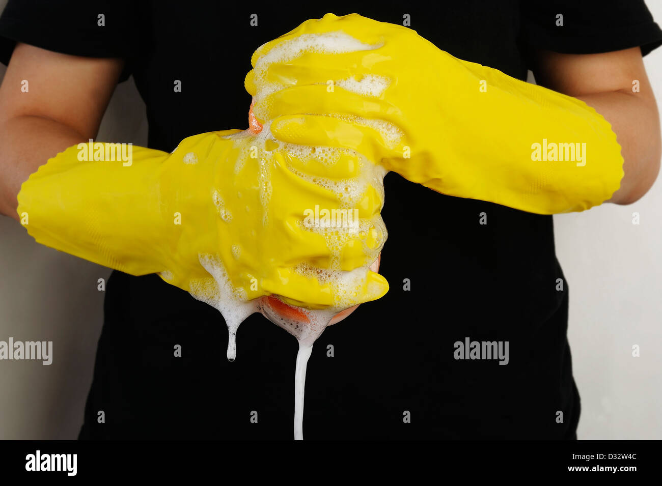 gloved hand squeezes a sponge for cleaning - Stock Image
