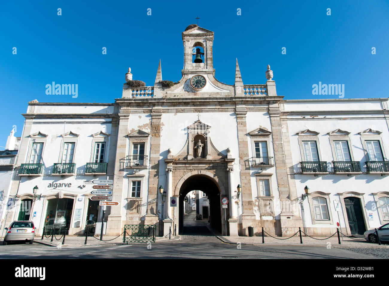 Faro Civil Government building and the entrance to the old town, Portugal - Stock Image