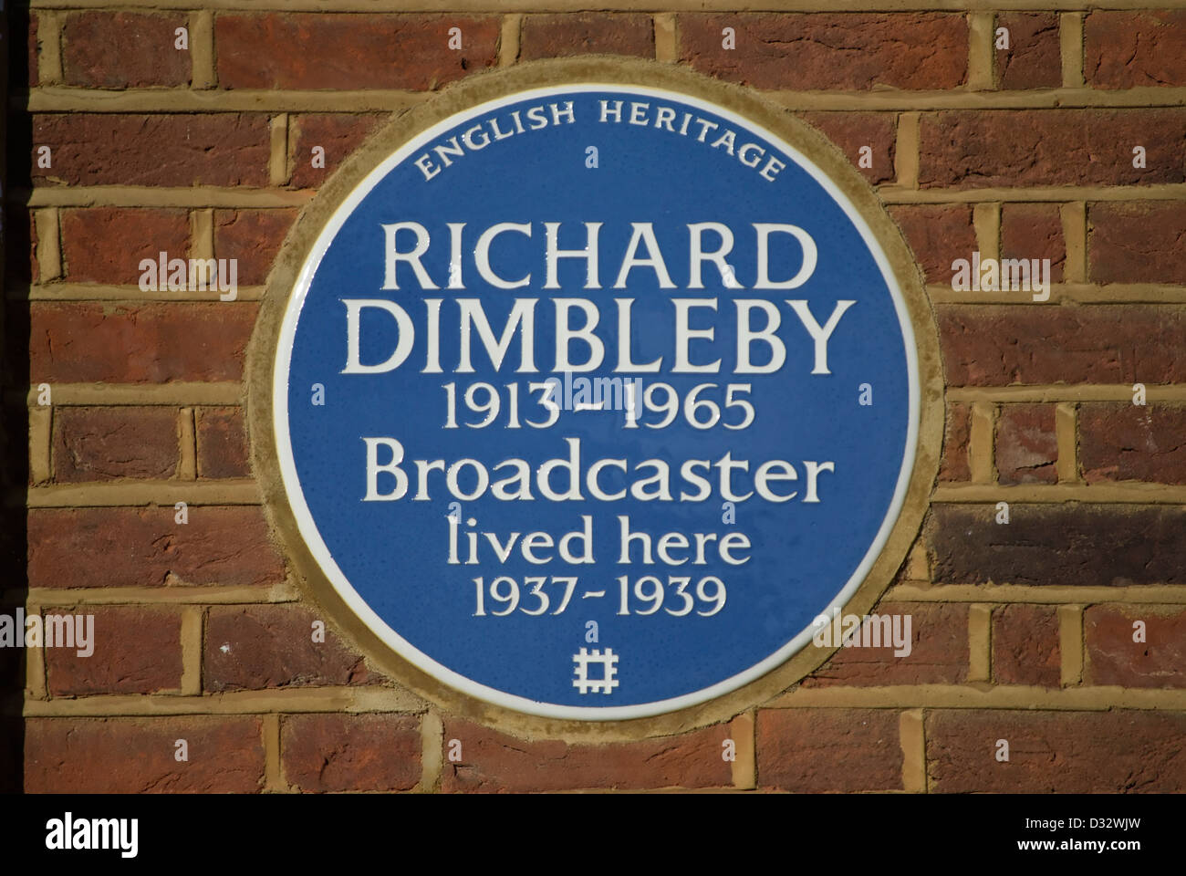 english heritage blue plaque marking a home of broadcaster richard dimbleby, east sheen, london, england Stock Photo