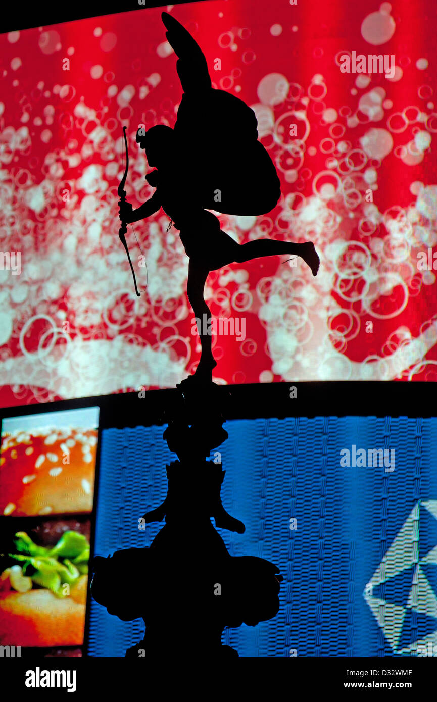 Eros Statue Picadilly London England - Stock Image