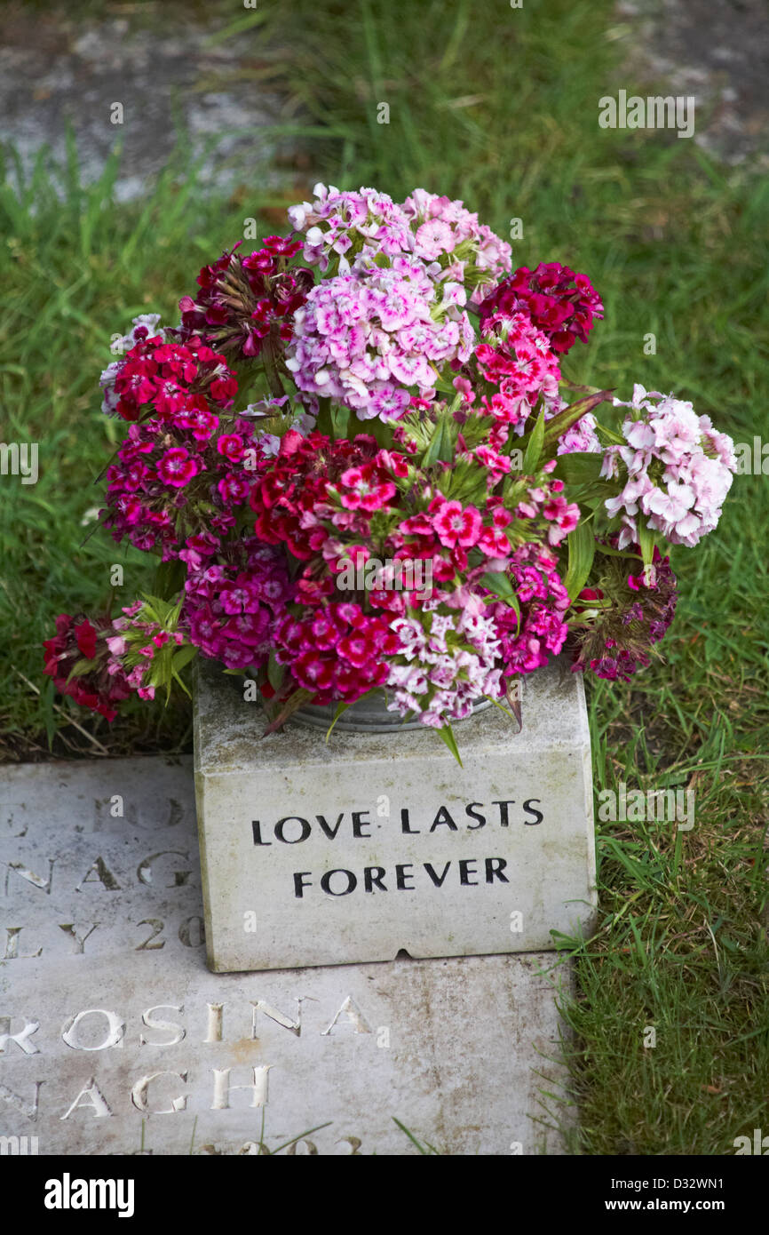 Sweet Williams flowers in pot inscribed Love lasts forever at graveyard at Christchurch, Dorset in June - Stock Image
