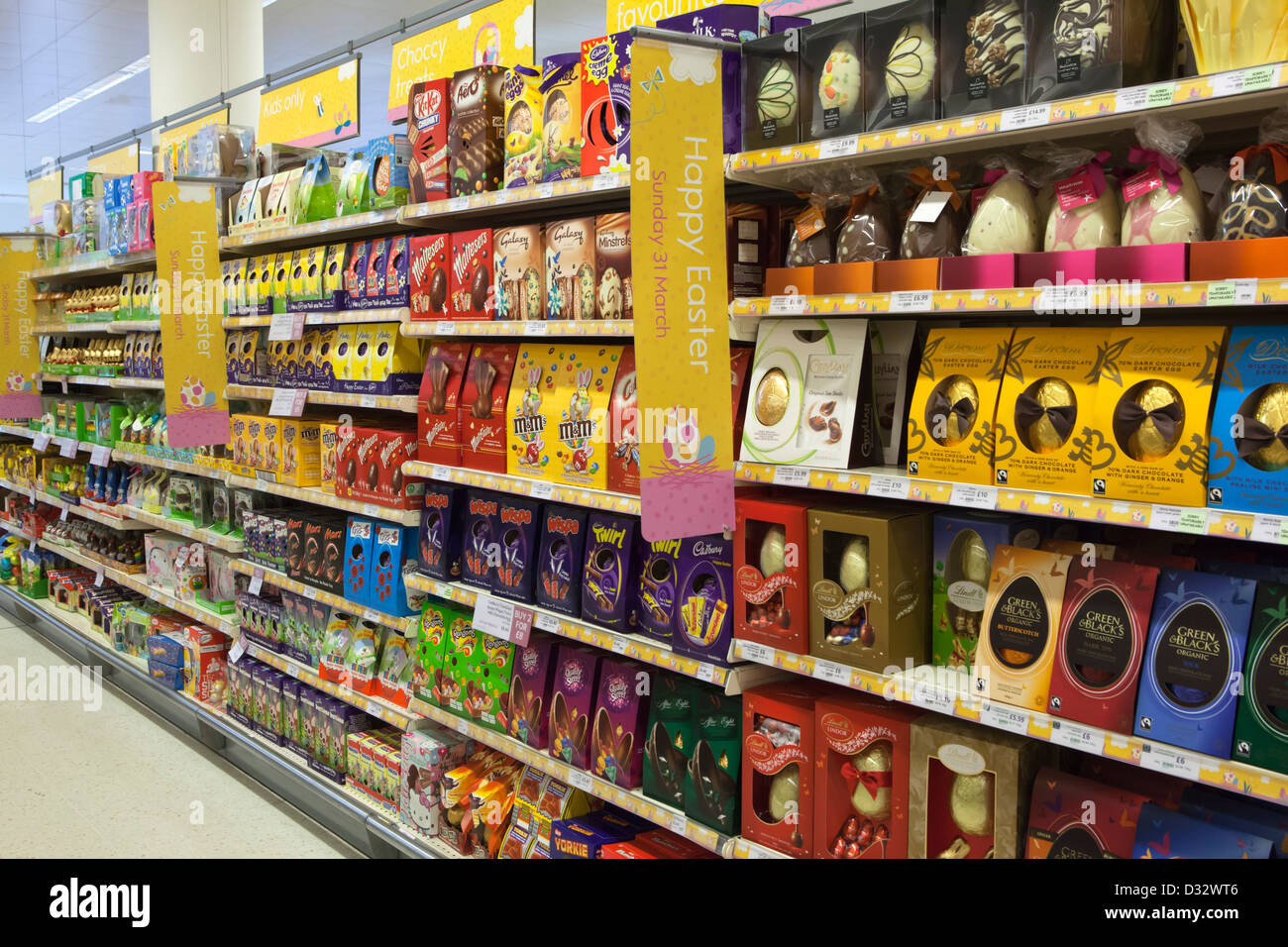 Easter eggs supermarket stock photos easter eggs supermarket stock easter eggs on shelves of waitrose supermarket stock image negle