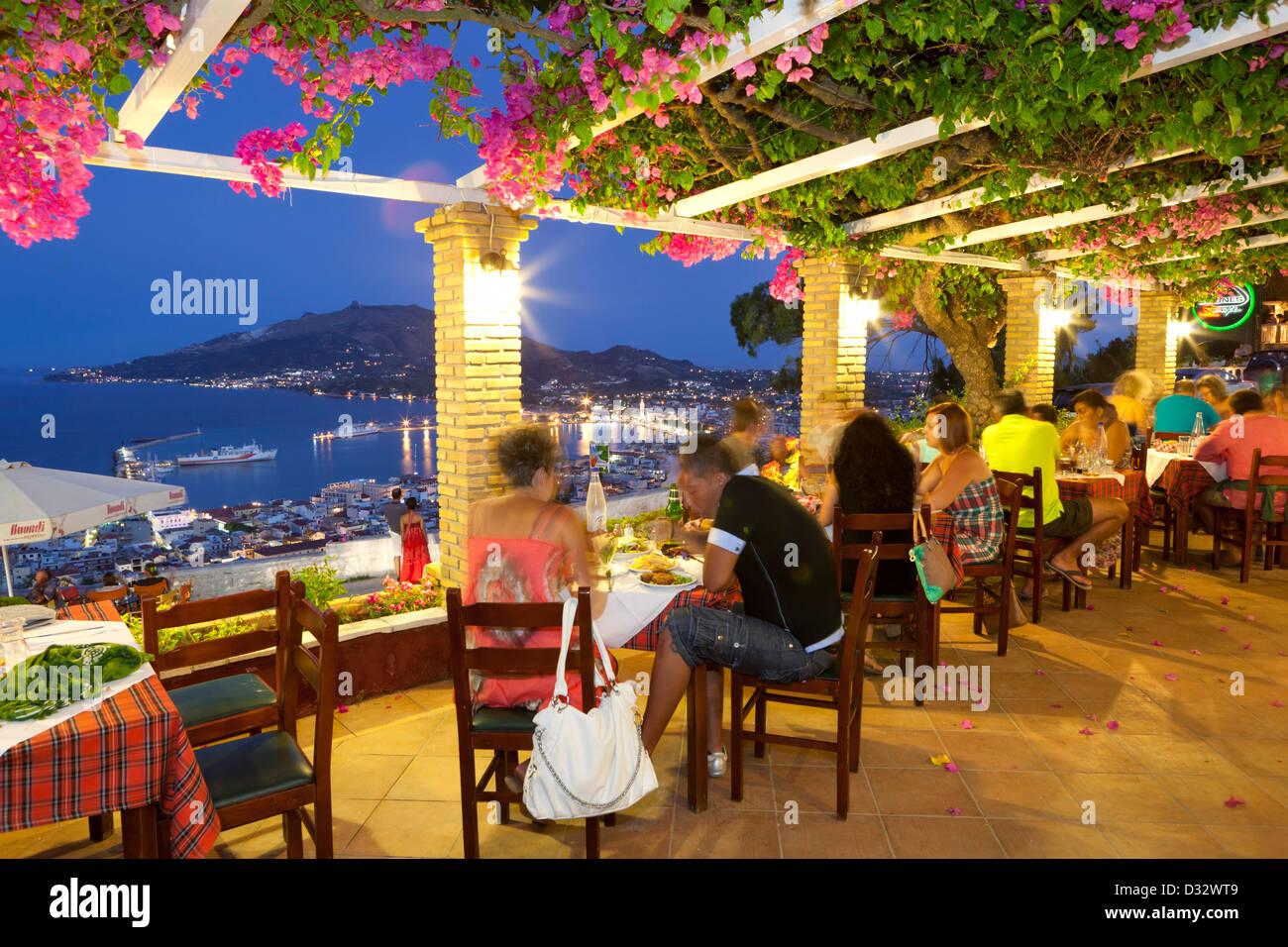 Restaurant on Bochali Hill overlooking Zakynthos Town - Stock Image