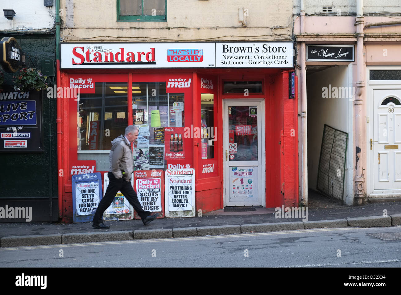 Brown's newsagent shop, English Street, Dumfries, SW Scotland, Britain - Stock Image