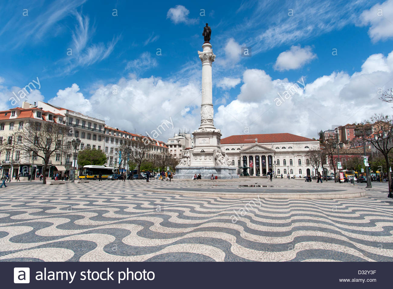 Rossio Square, Lisbon, Portugal - Stock Image