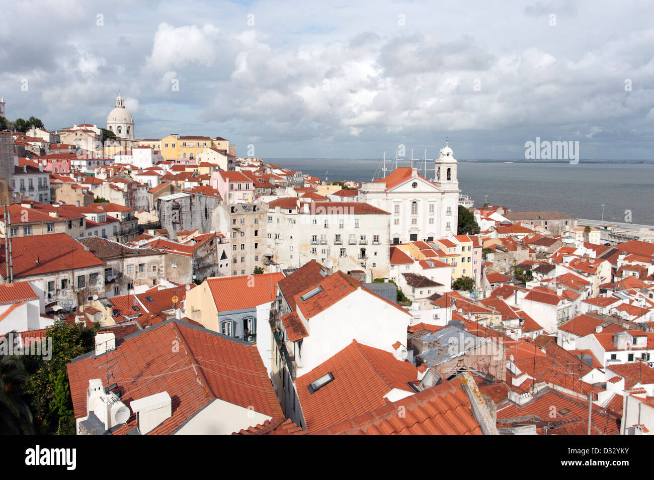 View of Alfama from Miradouro de Santa Luzia, Lisbon, Portugal - Stock Image
