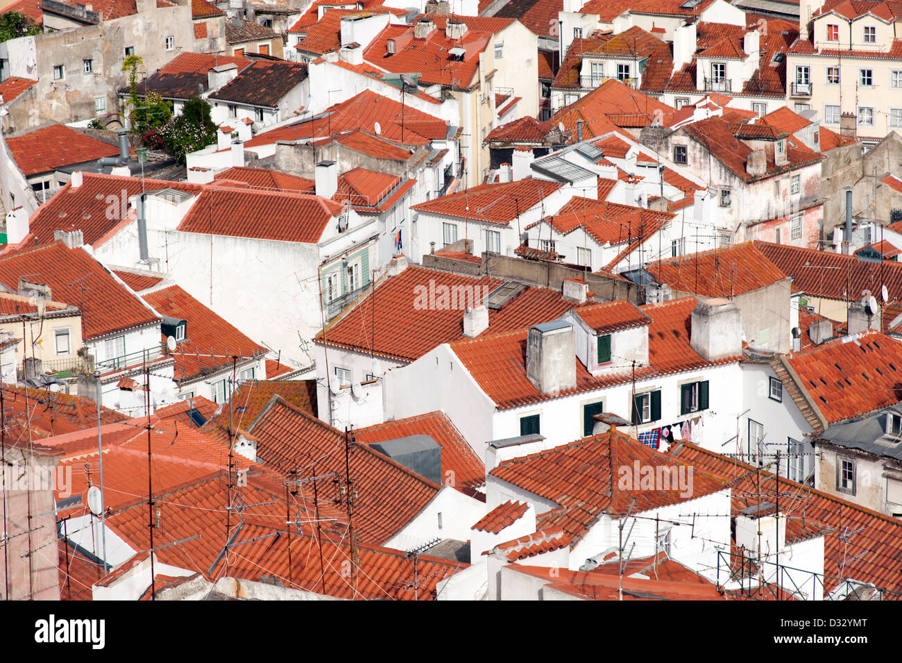 Rooftops of Alfama, Lisbon, Portugal - Stock Image
