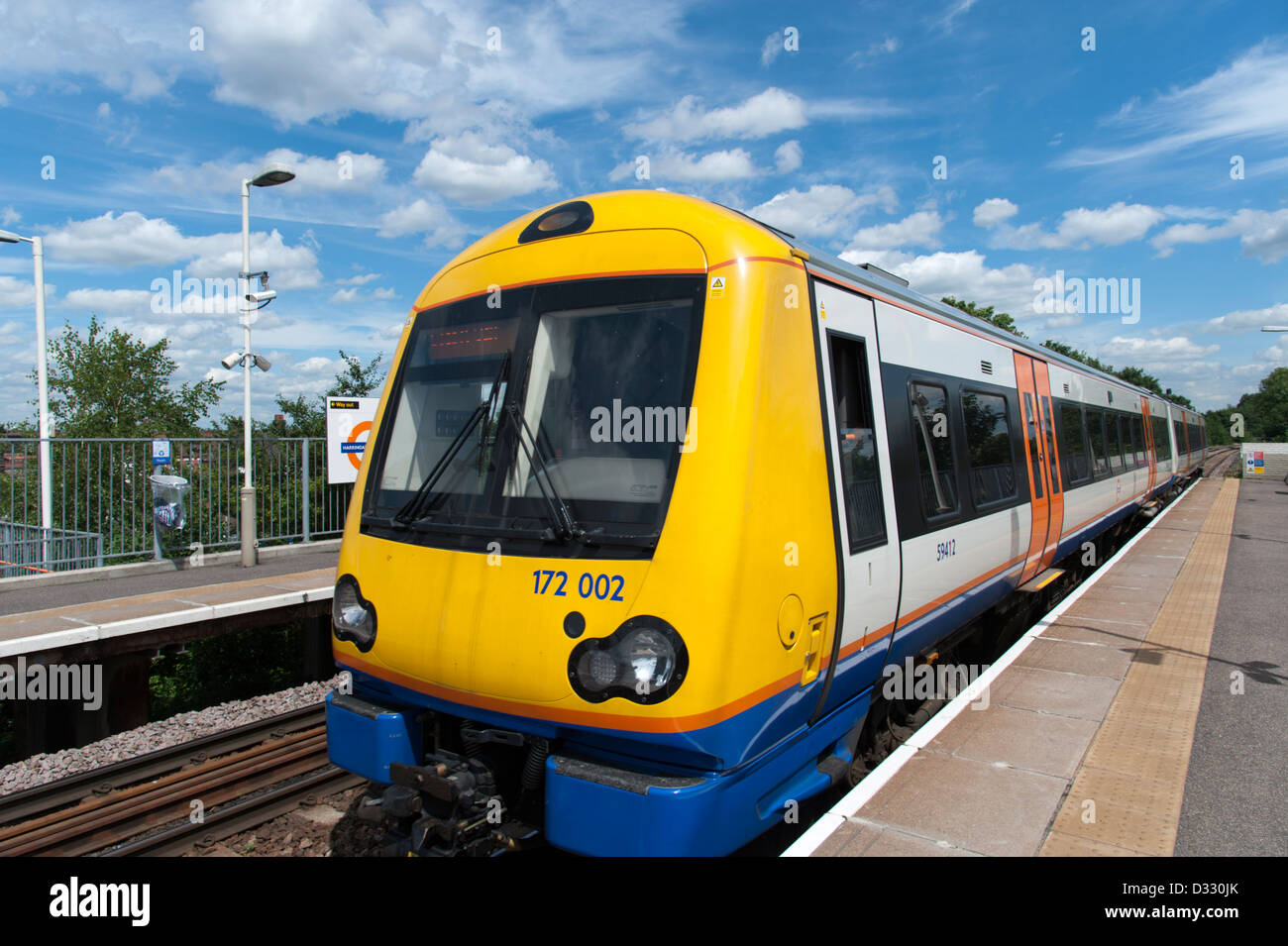 London Overground train on the Gospel Oak to Barking line, England, UK - Stock Image