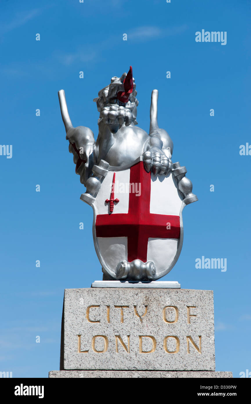 Griffin statue marking border to the City of London, England, UK - Stock Image