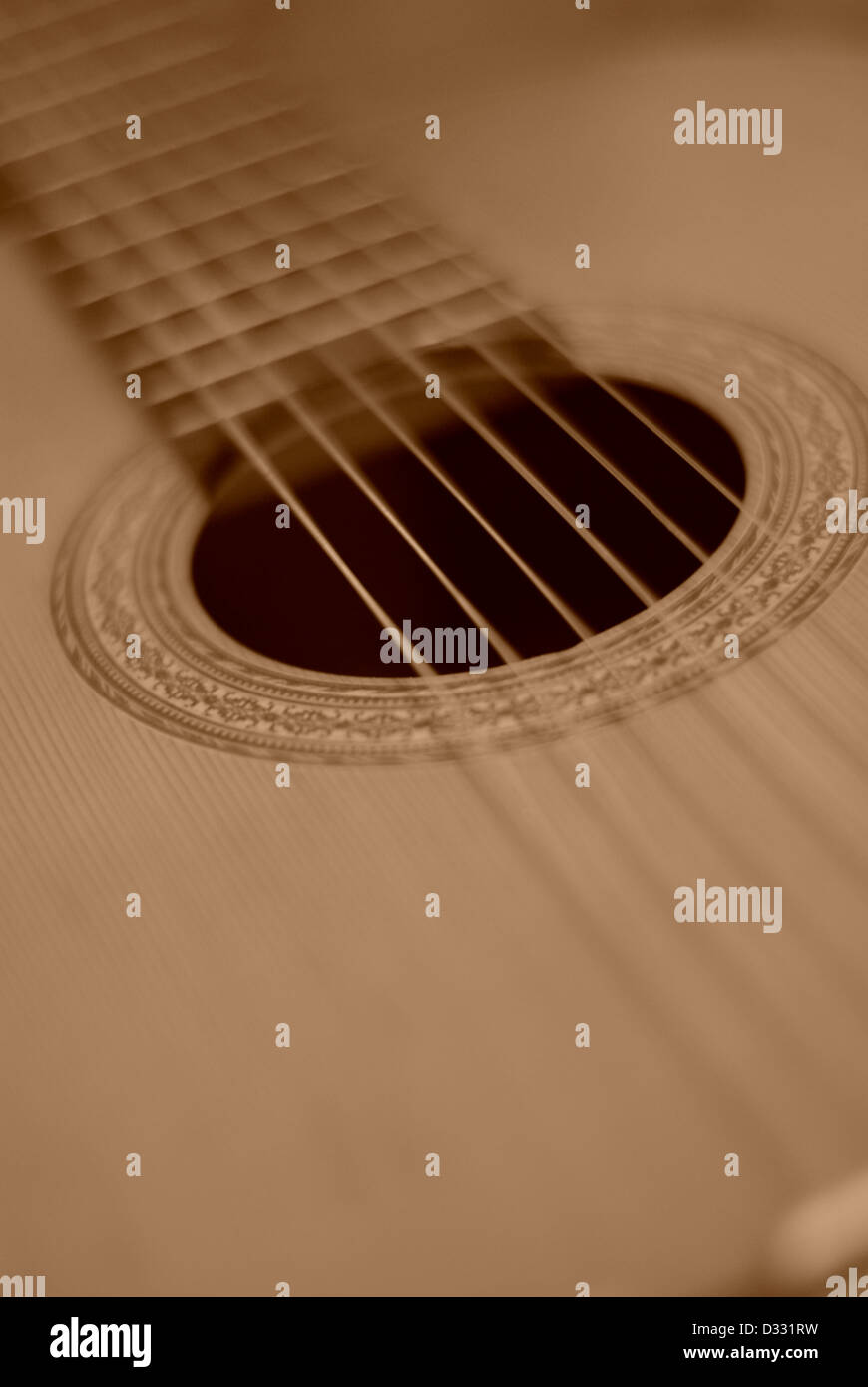 Classical Accoustic Guitar,Six (6) string guitar showing sound hole - Stock Image