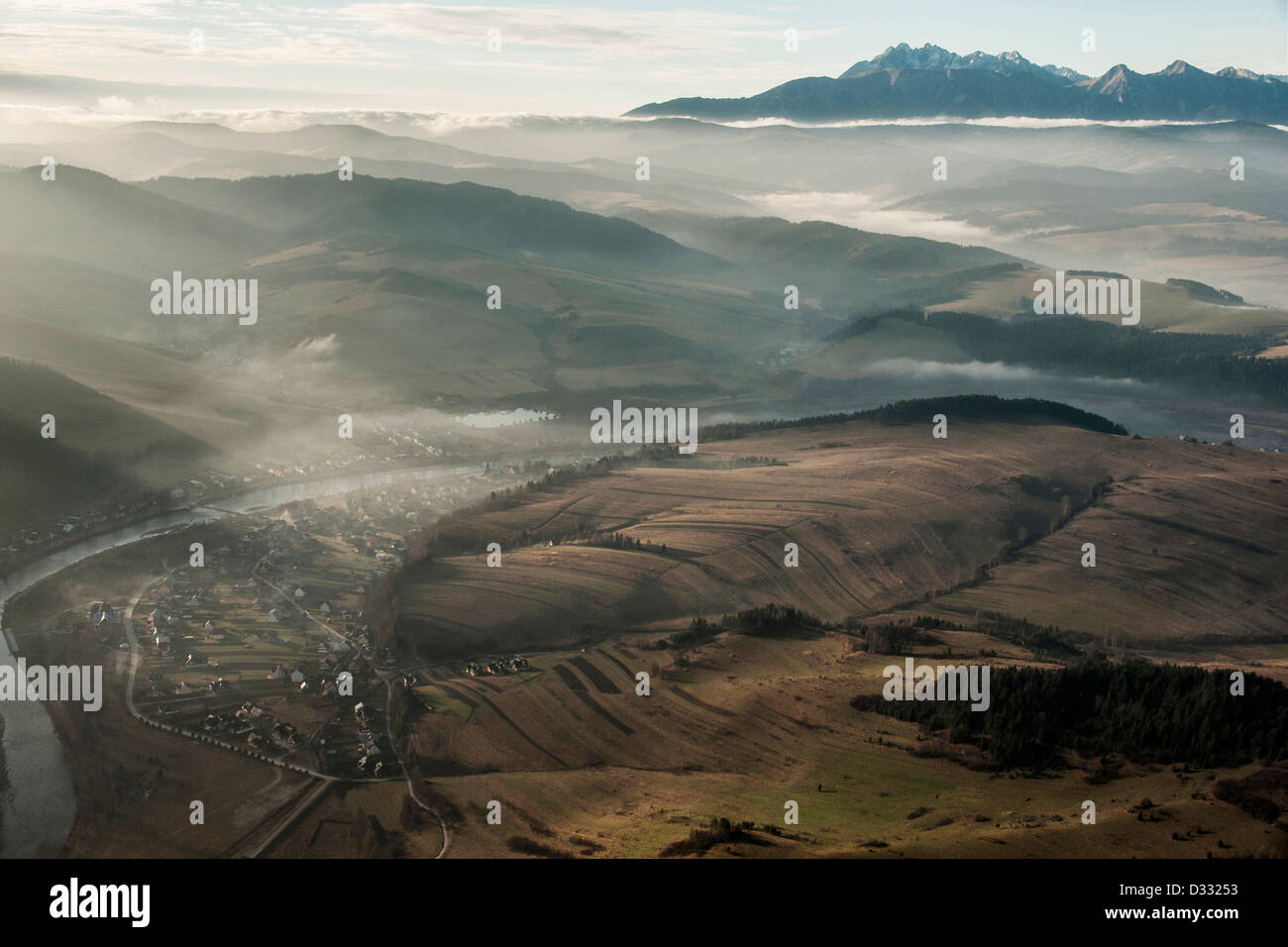 Podhale region seen from Three Crowns Peak in Pieniny National Park, Poland - Stock Image
