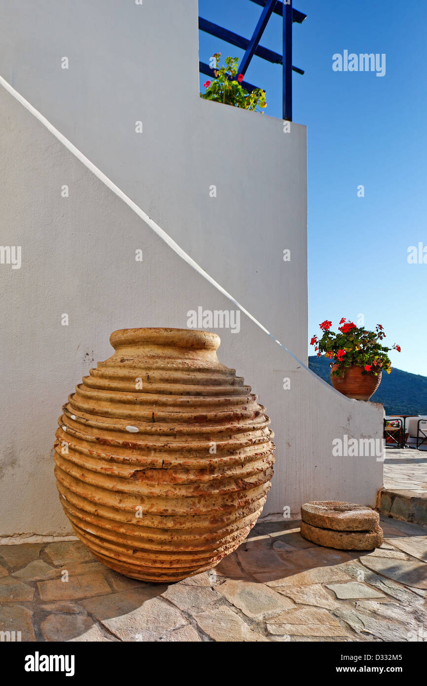 A traditional pot of mansion in Chora at Kythera island, Greece - Stock Image